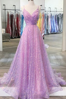 Shiny V Neck Backless Lilac Prom Dresses with Straps, Backless Lilac Formal Dresses    cg14726