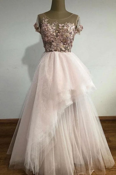 Unique tulle lace long prom dress, tulle lace evening dress   cg14733