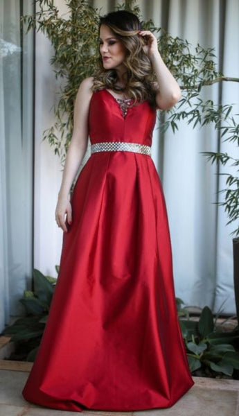 A Line Beading Crystals Evening Dresses, Red Prom Dress   cg14735