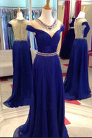 V-Neck ,Backless ,Sweep Train,Royal Blue Prom Dress,Sexy Party Dress   cg14737