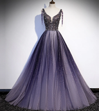 Charming Purple Gradient Tulle V-Neckline Long Party Dress, A-Line Prom Dress    cg14741