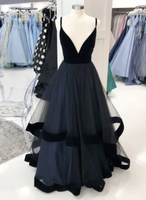 SIMPLE BLACK TULLE LONG PROM DRESS BLACK TULLE FORMAL DRESS   cg14745