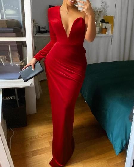 Long Prom Dress One Shoulder Ruched Party Dress    cg14753
