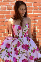 A-line Princess Sweetheart Short Pink Floral Homecoming Dress  cg1476