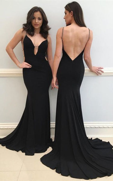 Mermaid Spaghetti Straps Backless Black Prom Dress with Beading     cg14785