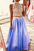 elegant lace crop prom dresses two piece satin ball gown lavender  cg14792