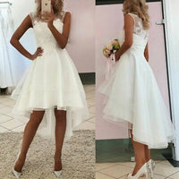 White A-line Sleeveless Lace Appliques Hi-Low Prom Dresses    cg14793