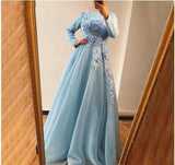 Blue Long Sleeves Evening Dresses Design Handmade Flowers Pearls A-Line Evening Gowns Prom Dresses   cg14794