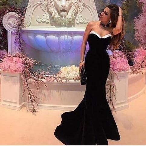Long Plus Size Prom Evening Dresses Mermaid Black Prom Party Gowns   cg14795