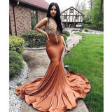 Mermaid Prom Dresses Sexy Deep V Neck Gold Appliques Cap Sleeve Evening Party Gowns Black   cg14796