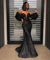 Dark Navy Sexy Mermaid Prom Dresses Spaghetti Side Split Ruffles Sequined Long Formal Evening Party Gowns   cg14798