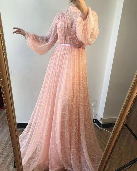 Long Sleeve A Line Pink Long Prom Dresses, Evening Formal Dress,   cg14799