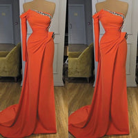 Coral Evening Dresses Long One Shoulder Beaded Sparkly Elegant Modest Mermaid Evening Gown prom dress   cg14815