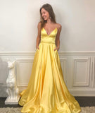 YELLOW V NECK SATIN LONG PROM DRESS SIMPLE EVENING DRESS   cg14829