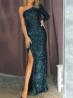 Sequins One Sleeve Long Prom Dress With Split   cg14835