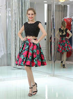 Two Piece Black Lace Floral Prints Open Back Homecoming Dresses cg1483