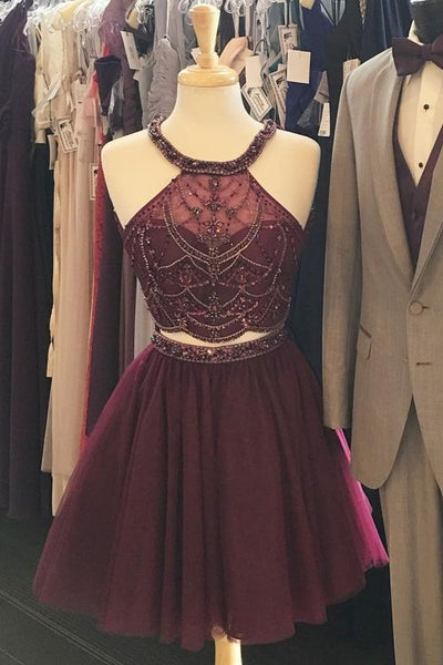 Halter Two Piece Burgundy Homecoming Dresses, Beaded Homecoming Dresses Party Dresses cg1484