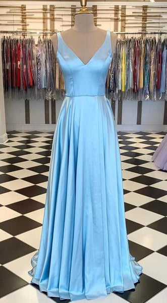 V-neck Simple Long Prom Dress ,School Dance Dresses ,Fashion Winter Formal Dress   cg14852