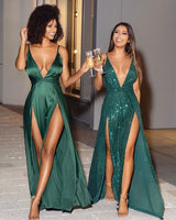 Sexy A Line Deep V Neck Green Long Prom/Evening Dress Split Front   cg14858