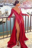 Sexy Off-the-Shoulder Long Sleeve Prom Dress Split Evening Party Gowns    cg14859