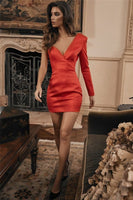 Red V-Neck One-Shoulder Mini Dress Homecoming Dress    cg14861