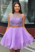 Two Piece Jewel Neck Beading Lilac Homecoming Dress  cg1486