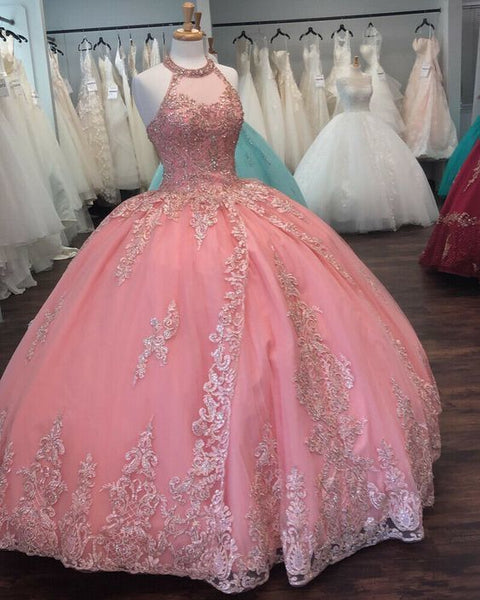 Pink Halter Ball Gown Dress With Lace ,prom dresses   cg14878