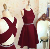 Short A line homecoming dress,burgundy homecoming dress,cross back short party dress,cocktail dresses cg148