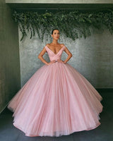 pink off the shoulder tulle ball gown Prom Dresses    cg14907