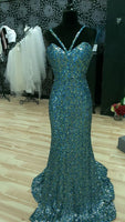 Blue and Green Sequined Prom Dress   cg14911