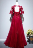 Beautiful Red Short Sleeves Tulle Prom Dress, Red Long Evening Gown   cg14912