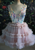 Homecoming Dress PINK V NECK TULLE SEQUIN SHORT DRESS PINK COCKTAIL DRESS       cg14913