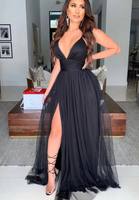 SIMPLE BLACK V NECK TULLE LONG PROM DRESS BLACK FORMAL DRESS   cg14914