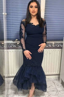 Mermaid Hi-low Prom Dress With Long Sleeves   cg14919
