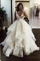 White v neck tulle long prom dress, white evening dress cg1491