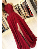Elegant burgundy halter lace long prom dress   cg14922
