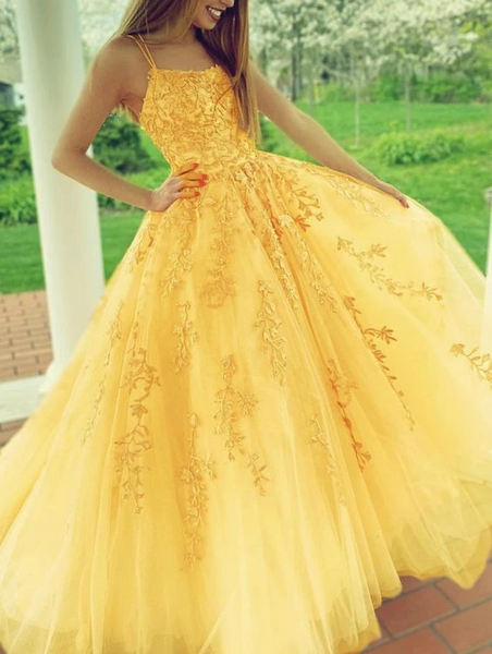 yellow prom dresses lace embroidery ball gown with multi straps   cg14928
