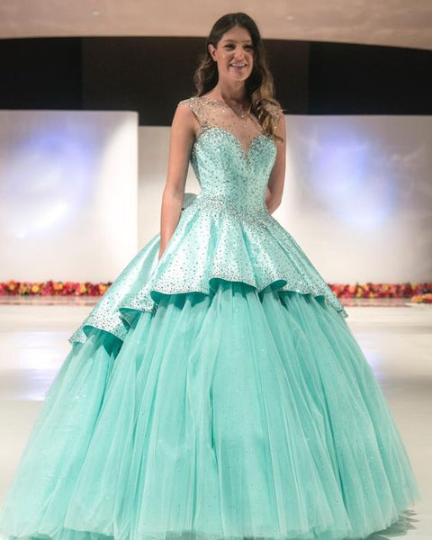 Glitter Mint Quinceanera Dresses Beaded Satin Prom Dresses   cg14936