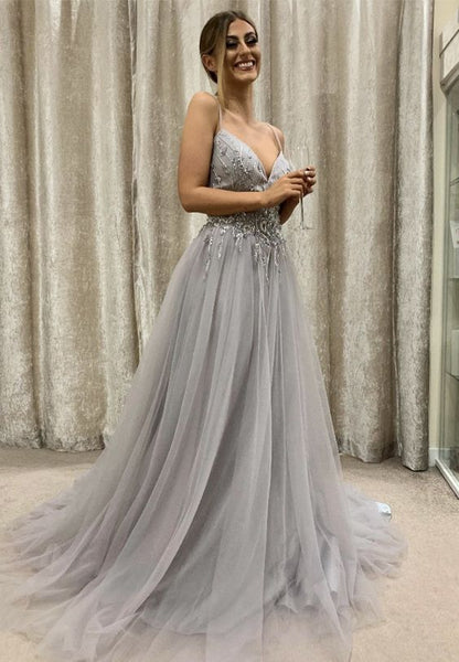 Gray tulle beads long prom dress party dress   cg14938