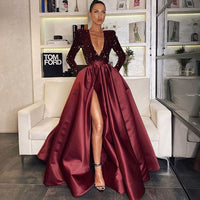 V-neck Burgundy Sequin Satin Prom Dresses, High Side Slit Prom Dresses   cg14941