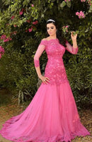 Evening Dress Turkey Sexy Off the Shoulders Hot Pink Tulle Lace Appliques Mermaid Prom Dresses    cg14944