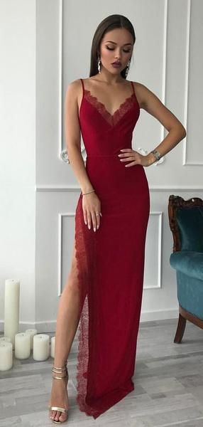 Red Spaghetti Long Side Slit Sheath Prom Dresses, Formal Evening Dresses, Prom Dresses cg1494