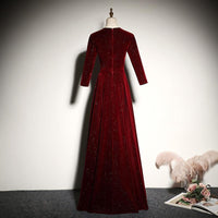 New Style Wine Red Velvet Long Sleeves Prom Dress, A-Line Floor Length Party Dress   cg14972
