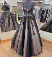 BLACK V NECK LACE LONG PROM DRESS LACE EVENING DRESS   cg14976