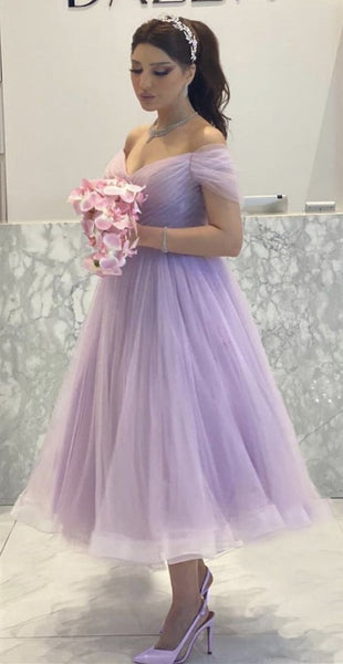 Elegant Lavender Tulle Midi Prom Dresses Off The Shoulder Party Gowns   cg14977