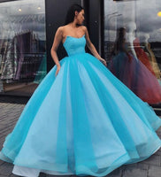Pretty Blue Tulle Strapless Floor Length Lace Up Sweet 16 Prom Dress, Ball Gown   cg14984