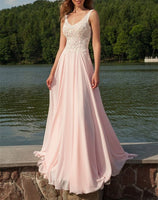 Newest V-Neck Appliques Long Sleeveless Prom Dresses,Chiffon Light Pink Party Dresses   cg14985