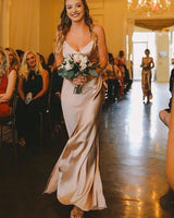 Simple Spaghetti Straps Champagne Prom Dress with Slit   cg14988