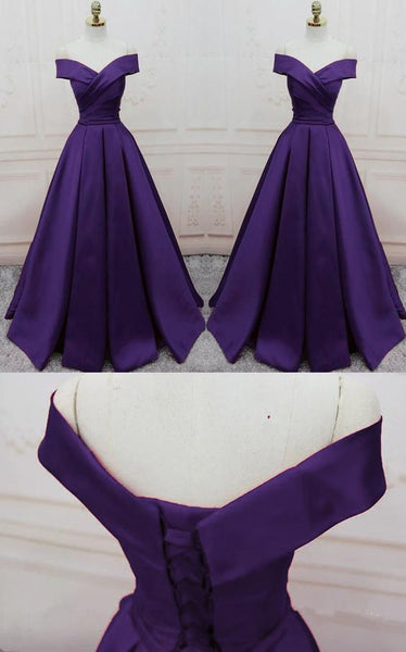 dark purple long formal prom dress ,long evening party Gown off shoulder   cg14991
