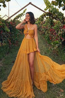SIMPLE YELLOW CHIFFON LONG PROM DRESS YELLOW FORMAL DRESS   cg14998